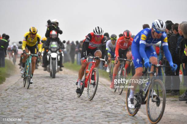 Koen de Kort of The Netherlands and TrekSegafredo / Cobblestones / Dust / Fans / Public / during the 117th ParisRoubaix a 257km race from Compiègne...