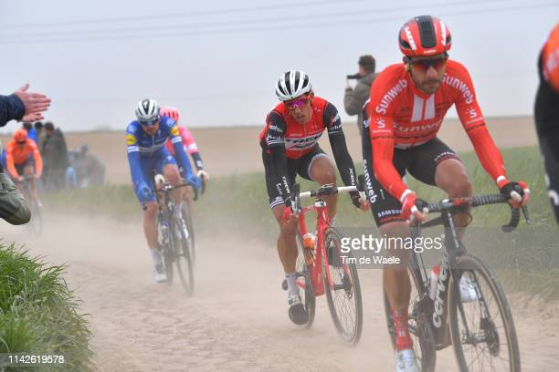 Koen de Kort of The Netherlands and TrekSegafredo / Cobblestones / Gravel Strokes / Dust / Fans / Public / during the 117th ParisRoubaix a 257km race...