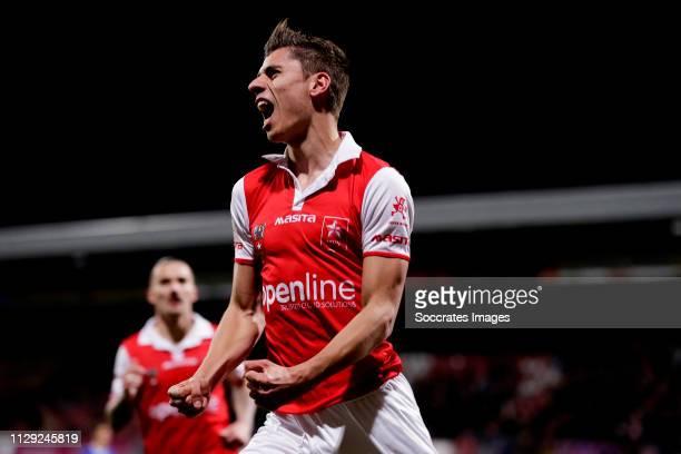 Koen Kostons of MVV Maastricht celebrates 1-0 during the Dutch Keuken Kampioen Divisie match between MVV Maastricht v Almere City at the Geusselt on...