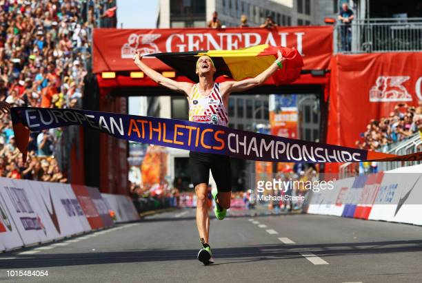 Koen Naert of Belgium crosses the line to win gold in the Men's Marathon final during day six of the 24th European Athletics Championships at...