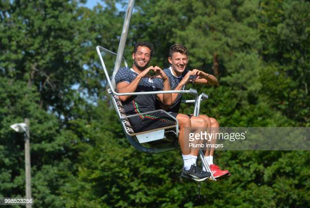Koen Persoons with Jenthe Mertens during team bonding activities during the OHL Leuven training session on July 09 2018 in Maribor Slovenia