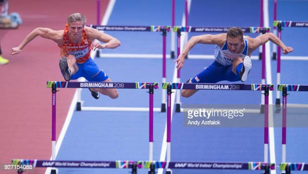 Koen Smet of the Netherlands and David King of Great Britain during the Semi Final of the Men's 60m Hurdles on Day 4 of the IAAF World Indoor...