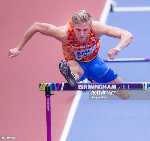 Koen Smet of the Netherlands during the Semi Final of the Men's 60m Hurdles on Day 4 of the IAAF World Indoor Championships at Arena Birmingham on...