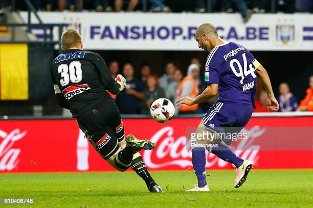 Koen Van Langendonck goalkeeper of KVC Westerlo and Sofiane Hanni midfielder of RSC Anderlecht pictured during Jupiler Pro League match between RSC...