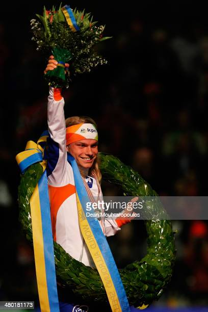 Koen Verweij of The Netherlands celebrates after winning the overall standings during day two of the Essent ISU World Allround Speed Skating...