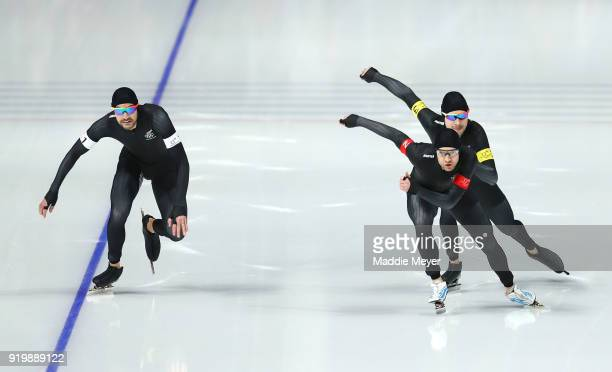 Koen Verweij Patrick Roest and Sven Kramer of the Netherlands compete during the Men's Team Pursuit Speed Skating Quarter Finals on day nine of the...