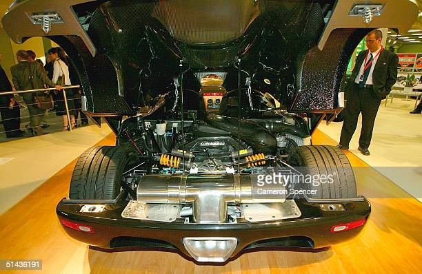 Koenigsegg CCR supercar engine bay is displayed during the Australian International Motorshow at the Darling Harbour Convention Centre October 7 2004...