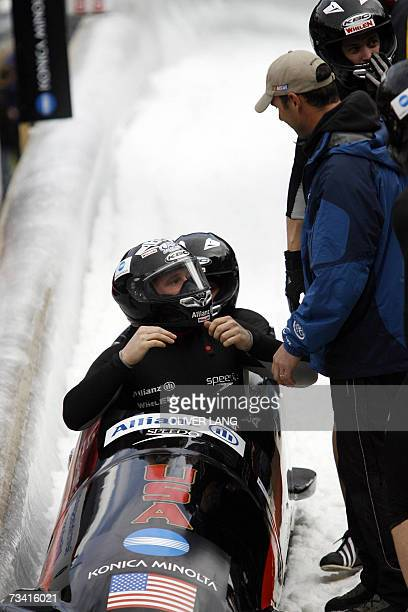 USA's Brock Kreitzburg Steve Mesler Pavle Jovanovic and Steven Holcomb finish second in the FourMan Bobsleigh World Cup event in Koenigssee southern...