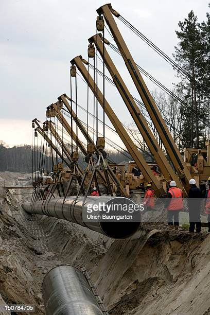 GERMANY KoenigsWusterhausen Construction of the Baltic Sea Pipeline Link in the vicinity of KoenigsWusterhausen Sinking the pipes The new pipeline...