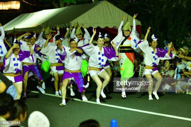 koenji awa dance, tokyo - awa dance festival stock photos and pictures