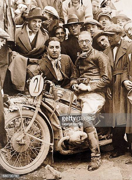 Koeppen of Berlin whose speedy twocylinder motorbike was the first to cross the finish line in the Tenth Annual Italian Motorcycle races Undated...