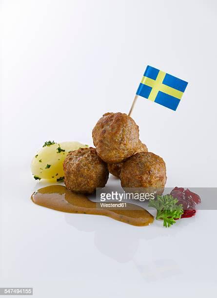 Koettbullar, Swedish meatballs, potato and sauce with swedish flag