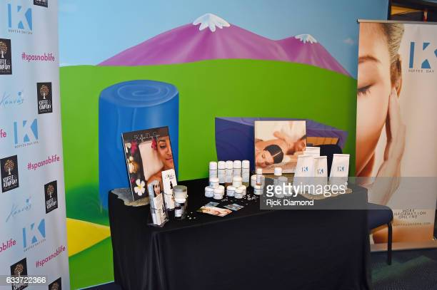 Koffee Day Spa products are displayed backstage at the BET Presents Super Bowl Gospel Celebration at Lakewood Church on February 3 2017 in Houston...