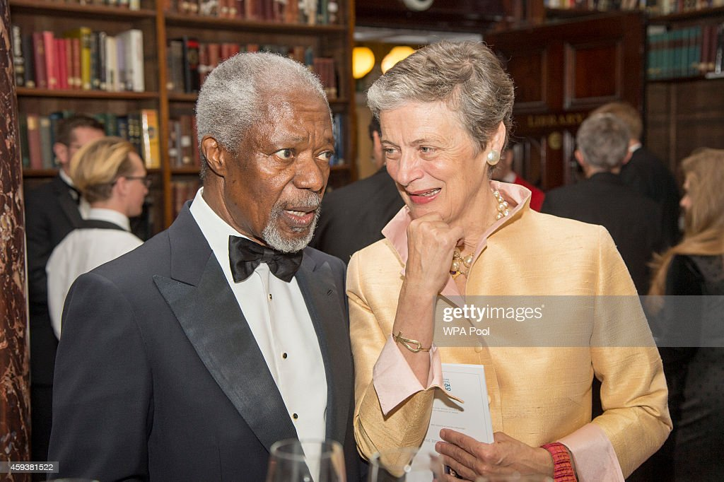 Kofi Annan and Nene Annan attend the RUSI (Royal United Services Institute) Chatham House (The Royal Institute of International Affairs) Prize 2014 presentation in the Banqueting House on November 21, 2014 in London, England. (Photo by Arthur Edwards - WPA Pool/Getty Images)NENE