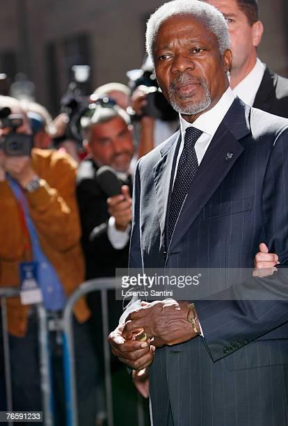 Kofi Annan attends the funeral of Italian Tenor Luciano Pavarotti held in the Duomo di Modena on September 8 2007 in Modena Italy