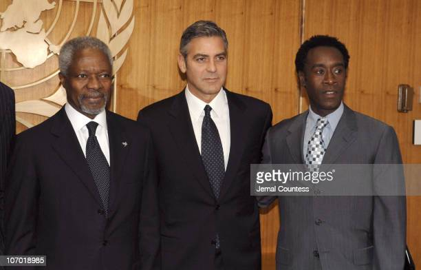 Kofi Annan George Clooney and Don Cheadle at the Save Darfur Coalition Press Conference at the United Nations on December 15 2006 in New York City