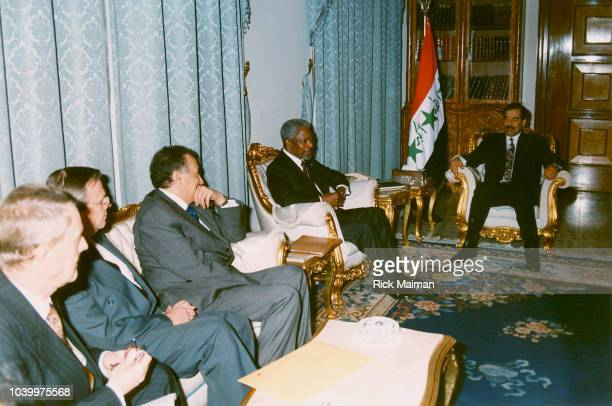 Kofi Annan meets Saddam Hussein at the Republican Palace
