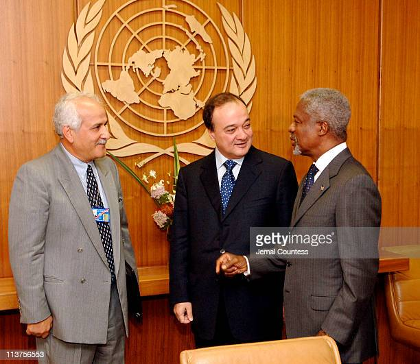 Kofi Annan, Secretary General of the United Nations meets with M. Nasser Al-Kidwa, Foreign Minister, Palestinian Authority