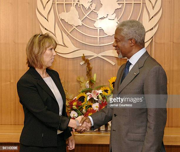 Kofi Annan, Secretary General of the United Nations meets with Mrs. Barbro Holmberg, Minister of Migration and Asylum Policy of Sweden