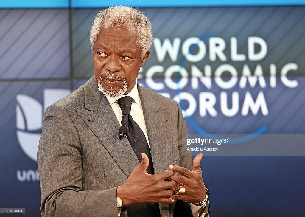 Kofi Annan, Secretary-General of United Nations talks during the session 'The Drugs Dilemma at the Annual Meeting 2014 of the World Economic Forum at the Congress Centre in Davos, Switzerland on January 23, 2014.
