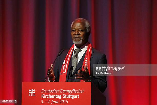 Kofi Annan the former SecretaryGeneral of the UN speaks at the 35th German Protestant Church Congress Kofi Annan the former SecretaryGeneral of the...