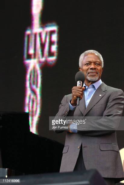 Kofi Annan, U.N. Secretary General during LIVE 8 - London - Show at Hyde Park in London, Great Britain.