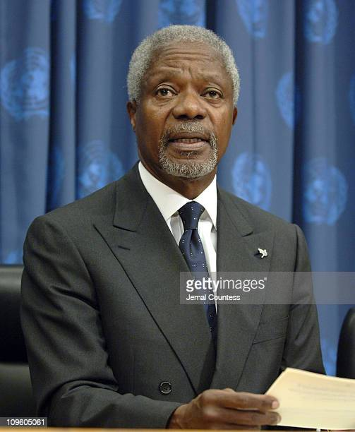 Kofi Annan United Nations Secretary General during JayZ Joins UN Secretary General Kofi Annan and Christina Norman President of MTV to Announce...