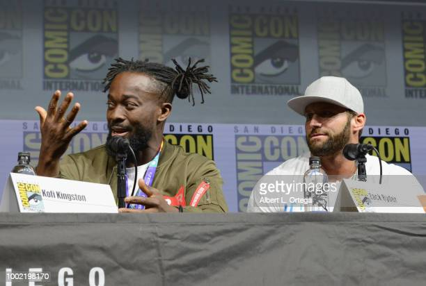 Kofi Kingston and Zack Ryder speak onstage during the Dragon Ball Super panel during ComicCon International 2018 at San Diego Convention Center on...