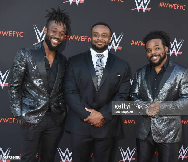 Kofi Kingston Big E and Xavier Woods attend WWE's FirstEver Emmy For Your Consideration Event at Saban Media Center on June 6 2018 in North Hollywood...