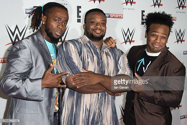 Kofi Kingston Big E and Xavier Woods of 'New Day' arrive for WWE RAW at 02 Brooklyn Bowl on April 18 2016 in London England