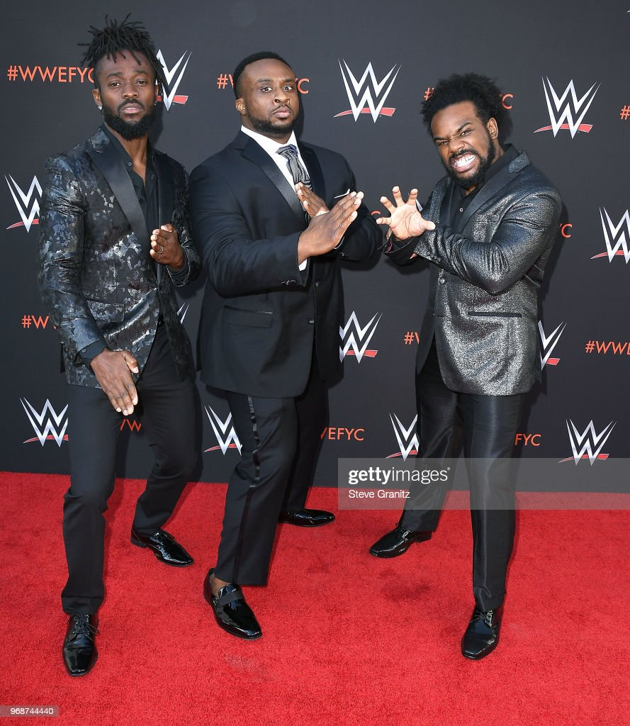 Kofi Kingston, Big E, Xavier Woods arrives at the WWE's First-Ever Emmy 'For Your Consideration' Event at Saban Media Center on June 6, 2018 in North Hollywood, California.