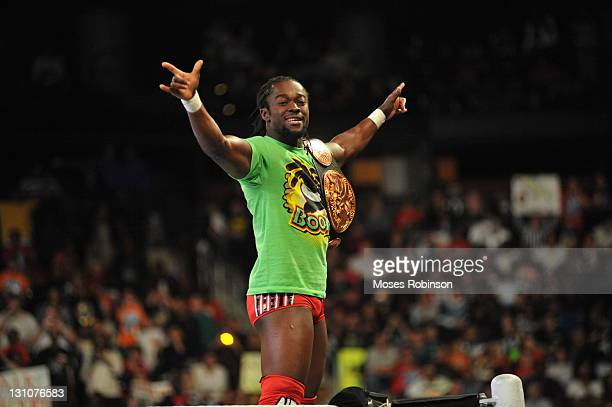 Kofi Kingston celebrates during the WWE Monday Night Raw Supershow Halloween event at the Philips Arena on October 31 2011 in Atlanta Georgia