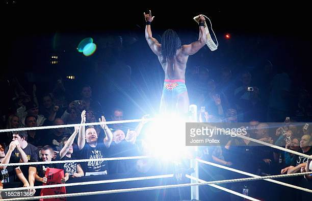 Kofi Kingston competes in the ring against The Miz during the WWE SmackDown World Tour at O2 World on November 2 2012 in Hamburg Germany
