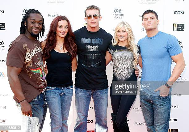 Kofi Kingston, Maria Kanellis, Ted DiBiase, Kelly Kelly and Cody Rhodes of WWE attend day one of the Haven Oscar Suite on February 18, 2009 in Los...