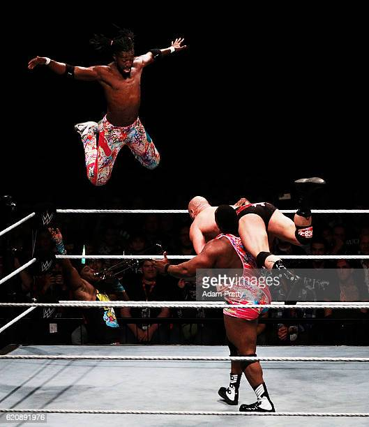 Kofi Kingston of The New Day jumps off the top rope to win the tag team match during the WWE Live Munich event at Olympiahalle on November 3 2016 in...