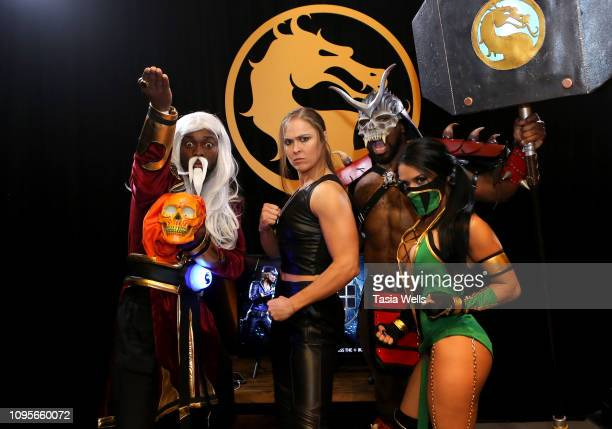 Kofi Kingston, Ronda Rousey, Xavier Woods, and Zelina Vega attend Mortal Kombat 11: The Reveal on January 17, 2019 in Los Angeles, California.