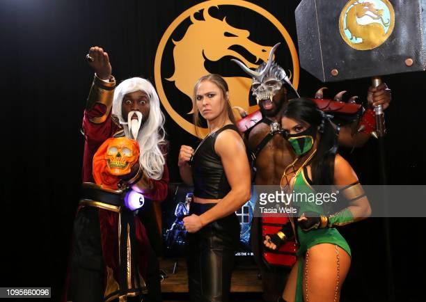 Kofi Kingston Ronda Rousey Xavier Woods and Zelina Vega attend Mortal Kombat 11 The Reveal on January 17 2019 in Los Angeles California