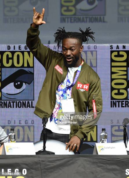 Kofi Kingston speaks onstage during the Dragon Ball Super panel during ComicCon International 2018 at San Diego Convention Center on July 19 2018 in...
