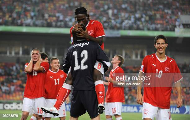 Kofi Nimeley and Raphael Spiegel of Switzerland celebrate winning the FIFA U17 World Cup during the FIFA U17 World Cup Final match between...