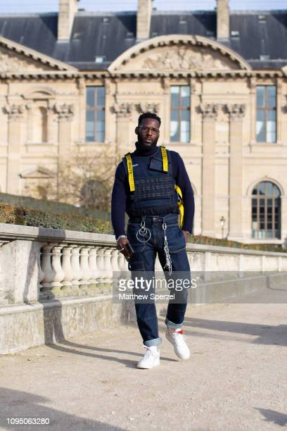 Kofi Siriboe is seen on the street during Paris Men's Fashion Week wearing OffWhite on January 16 2019 in Paris France