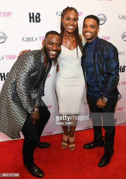 Kofi Siriboe Issa Rae and Larenz Tate at 'Girls Trip' New Orleans screening at Theatres at Canal Place on June 30 2017 in New Orleans Louisiana