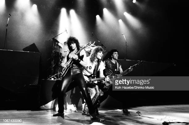 Bon Jovi perform on stage at Nakano Sunplaza Tokyo Japan 20th April 1985 LR Richie Sambora Jon Bon Jovi Alec John Such