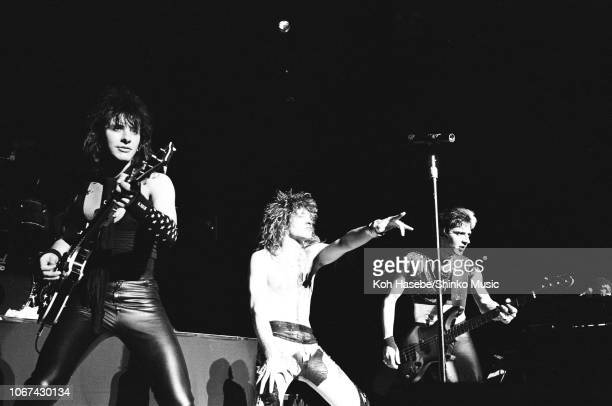 Bon Jovi perform on stage at Nagoya Civic Assembly Hall Nagoya Japan 24th April 1985 LR Richie Sambora Jon Bon Jovi Alec John Such