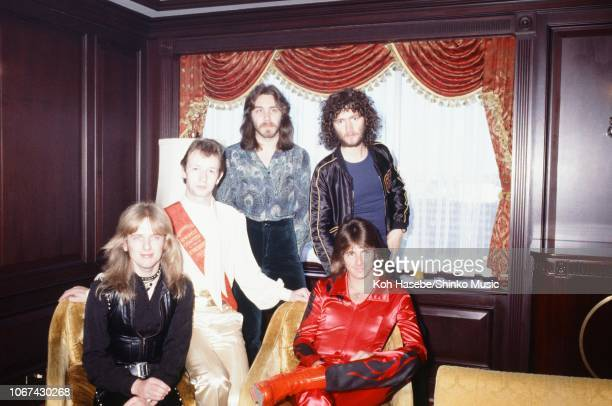 Koh Hasebe/Shinko Music/Getty Images: Judas Priest, group portrait during an interview and photo session for Music Life magazine, at a hotel in...