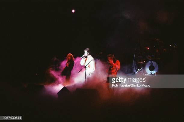 Koh Hasebe/Shinko Music/Getty Images: Judas Priest perform on stage, Tokyo, Japan, July 1978. L-R K K Downing, Rob Halford, Glenn Tipton