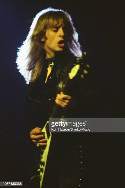 Koh Hasebe/Shinko Music/Getty Images: K K Downing of Judas Priest performs on stage, Tokyo, Japan, July 1978. He isplaying a Gibson Flying V guitar.