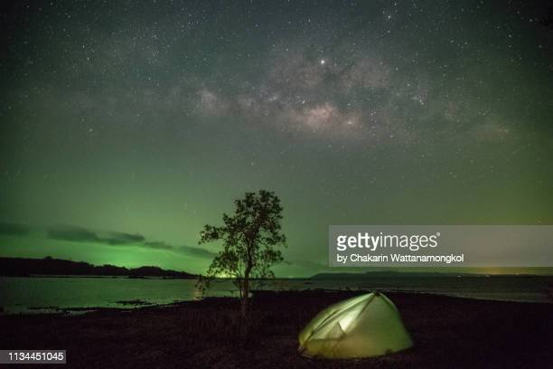 koh mak island - camping on the beach beside a mangrove tree under night sky with milky way.. - fishing boat stock pictures, royalty-free photos & images
