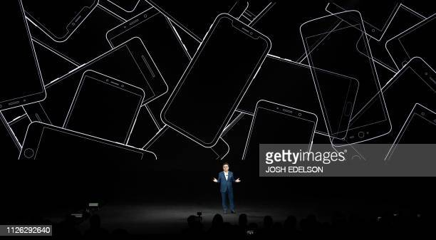 Koh President and CEO of IT Mobile Communications Division of Samsung Electronics speaks on stage during the Samsung Unpacked product launch event in...