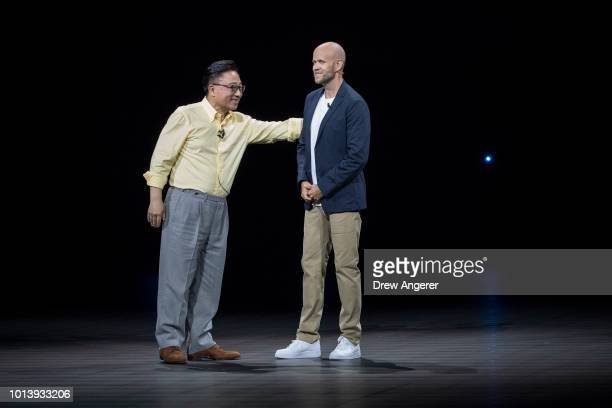 Koh president and CEO of Samsung Electronics and Daniel Ek chief executive officer of Spotify announce a longterm partnership between Samsung and...