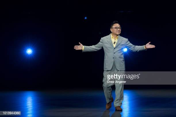 Koh president and CEO of Samsung Electronics arrives onstage for a product launch event for the Samsung Galaxy Note 9 smartphone at the Barclays...